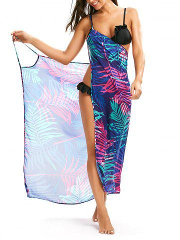 Trendy Tropical Leaf Print Cover Up Slip Dress - L COLORMIX Mobile