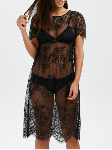 Scalloped Lace Sheer Cover Up Dress for Beach - Black - 2xl