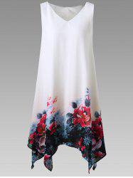 Plus Size Floral Print Sleeveless Handkerchief Dress
