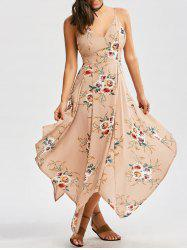 Floral Print Asymmetrical Criss Cross Dress - KHAKI