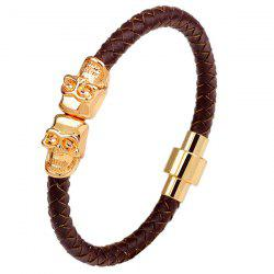 Faux Leather Double Skulls Magnetic Clasp Bracelet - BROWN