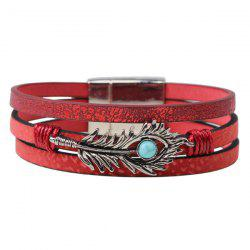 Feather Faux Turquoise Leather Bracelet
