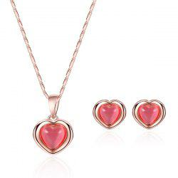 Heart Gold Plated Necklace and Earrings