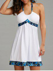 Backless Halter Mini Beach Dress - WHITE
