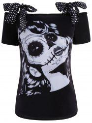 Self Tie 3D Skeleton Print Tee - GRAY