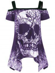 Open Shoulder Skull Handkerchief Tee