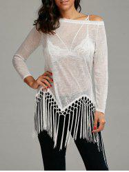 See Through Fringed Skew Neck Top