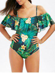 One Piece Flounce Floral Tropical Swimsuit - GREEN