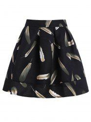 Feather Print Short A Line Skirt