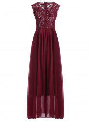 Lace Panel Long Bridesmaid Prom Formal Dress - DEEP RED