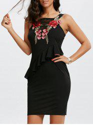 Mesh Insert Embroidered Mini Peplum Dress