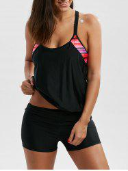 Cut Out Cami Blouson Boyleg Tankini - BLACK