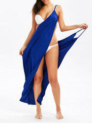 Cami Wrap Sarong Cover-Up Dress - BLUE