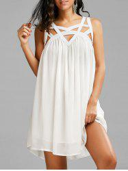 Sleeveless Cut Out Chiffon Dress - WHITE