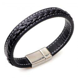 Artificial Leather Braid Titanium Steel Bracelet - BLACK