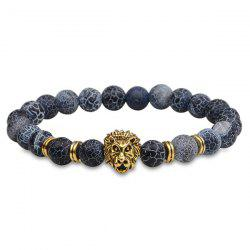 Lion Head Natural Stone Beaded Bracelet - GOLDEN