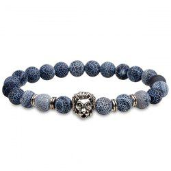 Lion Head Natural Stone Beaded Bracelet - SILVER