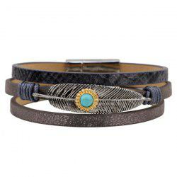 Faux Leather Turquoise Multilayered Leaf Bracelet