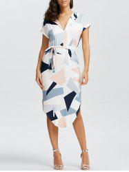Short Sleeve Geometric Print Midi Dress - WHITE