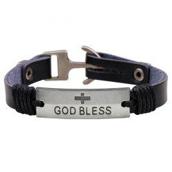 Artificial Leather God Bless Crucifix Bracelet - BLACK