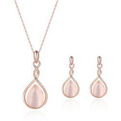 Artificial Opal Teardrop Pendant Jewelry Set - ROSE GOLD