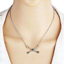 Rhinestone Love Cupid Arrow Pendant Necklace - SILVER
