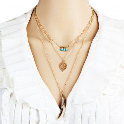 Layered Faux Turquoise Beads Leaf Feather Necklace