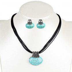 Faux Turquoise Oval Necklace with Earring Set