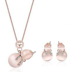 Rhinestone Calabash Necklace with Earring Set