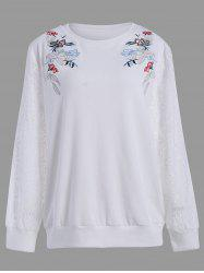 Plus Size Lace Insert Floral Embroidered Sweatshirt - WHITE