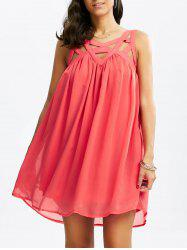 Sleeveless Cut Out Chiffon Dress - WATERMELON RED