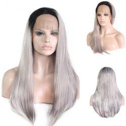 Long Free Part Straight Colormix Lace Front Synthetic Wig