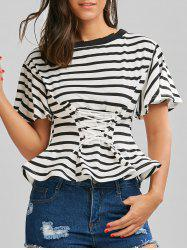 Lace Up Stripe Off The Shoulder Top