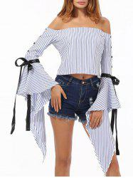 Bell Sleeve Striped Off The Shoulder Top