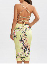 Lace-Up Bodycon Floral Midi Slip Dress