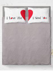 Brushed Fabirc Double Pillow Case with Letter Heart Print
