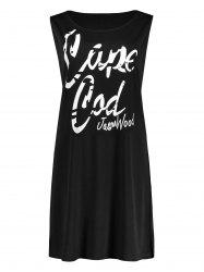 Plus Size Funny Letter Printed Swing Tank Dress