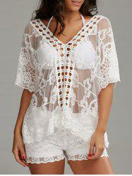 V Neck Oversized Embroidered Top with Shorts - WHITE