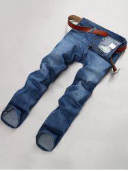 Zipper Fly Stretchy Straight Leg Embroidered Jeans