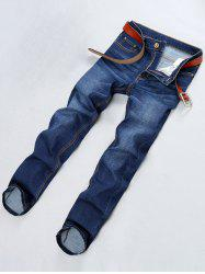 Straight Leg PU Leather Applique Jeans