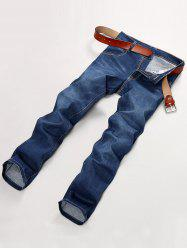 Bleach Wash Straight Leg Applique Denim Pants