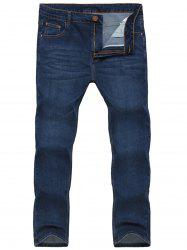 Straight Leg Zipper Fly Stretchy Jeans - BLUE