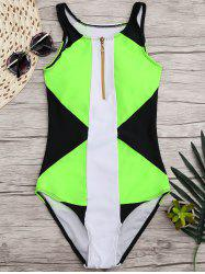 High Neck Color Block One Piece Swimwear - BLACK AND GREEN