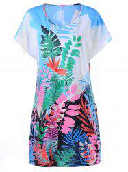 Tropical Leaf Print Hawaiian Tee Dress