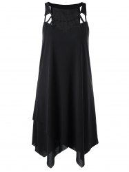 Cut Out Overlap Sleeveless Handkerchief Dress