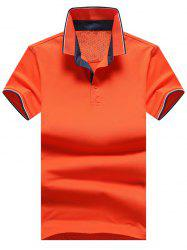 Casual Striped Trim Polo Shirt