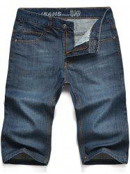 Graphic Embroidered Straight Leg Jean Shorts - BLUE