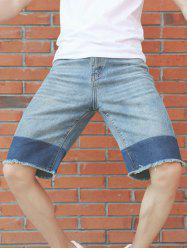 Panel Design Zipper Fly Deckle Edge Jean Shorts