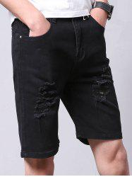Straight Leg Zipper Fly Ripped Jean Shorts