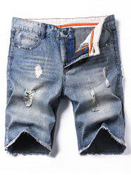 Bleach Wash Zipper Fly Deckle Edge Ripped Denim Shorts